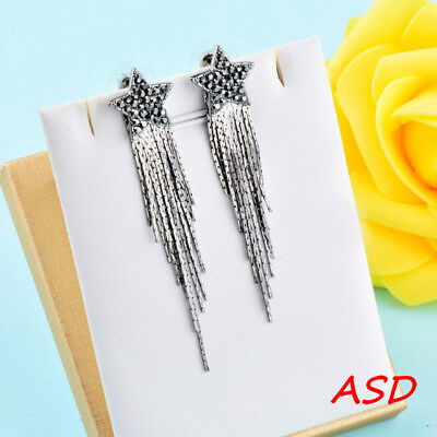 Wholesale 10pcs Star Ear Studs Black/Gold/Silver Eardrop Long Metal Tassels