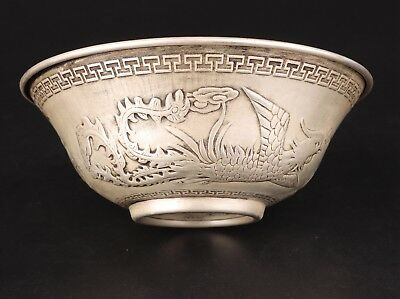 Vintage Chinese Silver Tea Bowl Old Relief Dragon Phoenix Mascot Collection Gift