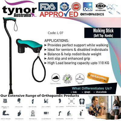 Tynor® Premium Adjustable Walking Stick Cane Non-slip Steel & Aluminium Body