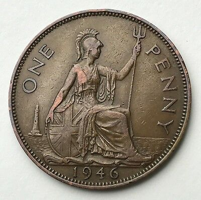 Dated : 1946 - One Penny - 1d Coin - King George VI - Great Britain