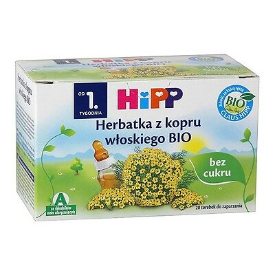 HiPP Organic Fennel Tea for Babies 20 x Teabags. Made in Switzerland.