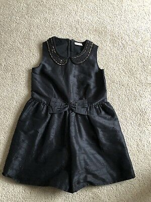 Girls Next Party Playsuit Black Age 8 Gold Bead Sparkle