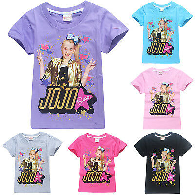 Kids Girl Jojo Siwa T-Shirt Short Sleeve Summer Casual Shirt Cotton Tops 4-12 Y