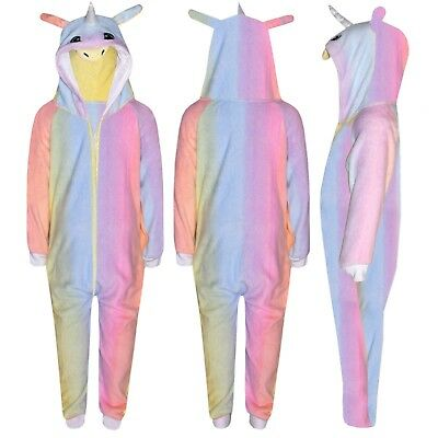 Kids Girls Rainbow Unicorn A2Z Onesie One Piece Hooded Soft Fluffy Xmas Costume