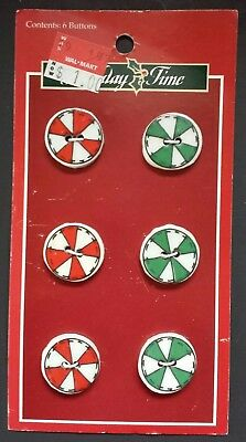 6 Ceramic Buttons Christmas Candy Peppermints by Trena (Trena's Trinkets) 1997