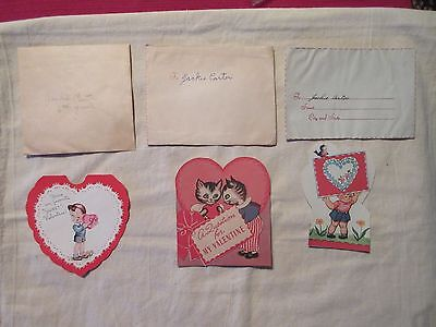 Lot of 3 Vintage Valentine Cards w/ Original Envelopes