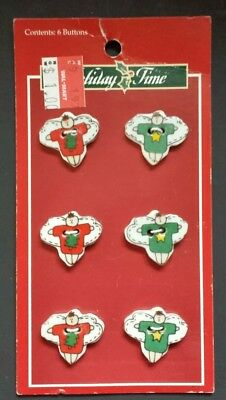 6 Ceramic Buttons Christmas Angels by Trena (of Trena's Trinkets) 1997