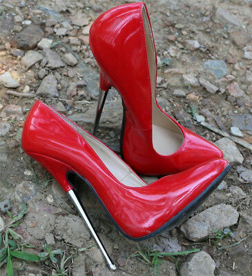 Womens 16cm Patent Leather Stiletto Heel Pointed Toe Club Super High Heel Shoes