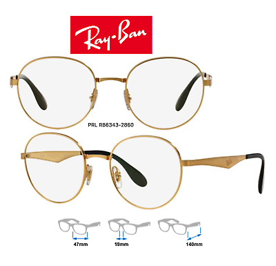 Ray-Ban RB6343 2860 Eyeglass Frames Unisex Gold Frame 100% Authentic & New