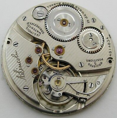 Illinois 12s 13s * A. Lincoln * Pocket Watch Movement 19 jewels adj. for project