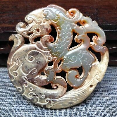 Chinese jade, collectibles, manual sculpture,Ancient dragon card pendant A3098