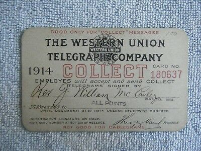 The Western Union Telegraph Company Collect Card / 1914