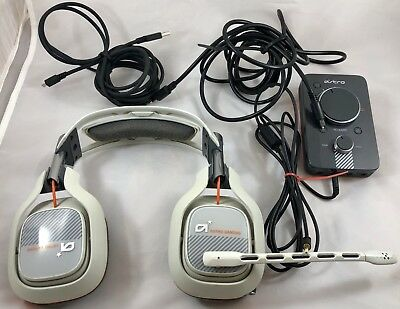 Astro A40 White/Orange Gaming Headset w/Mixamp MA3 PS4 PS3 PC MAC Xbox One