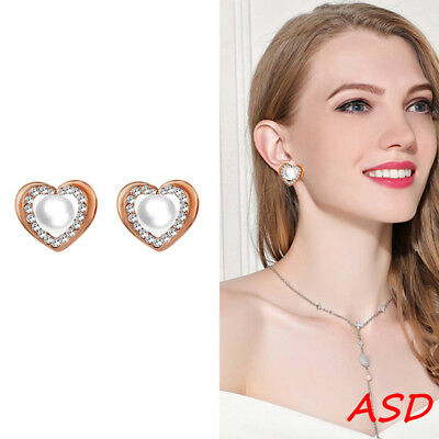 Wholesale 10pcs Pearl Crystal Heart Silver Gold Earring For Party Chic Ear Studs