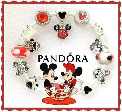 Pandora Bracelet Silver with Disney Mickey Minnie Valentine European Charms New