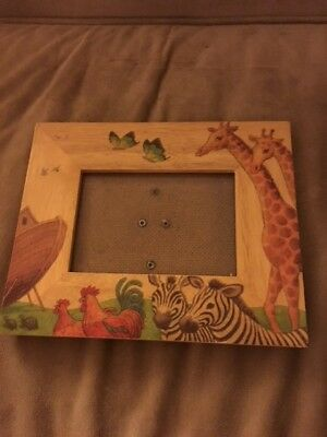 *~Fetco Noah's Ark 3 1/2 X 5 Hand CRAFTED Wood Photo Frame