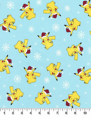 Pokemon Christmas.Pokemon Christmas Fabric Pikachu Santa Hat Snowflakes Cotton Blue Fabric Bty
