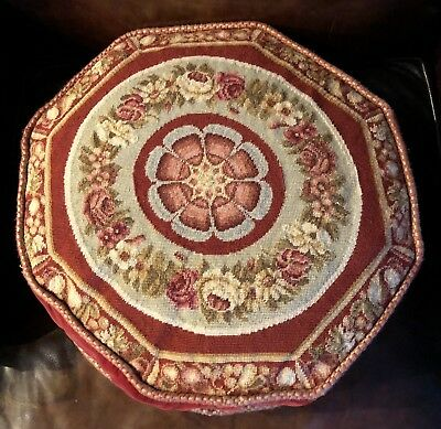 """16"""" Wool Petit Point Octagon Pillow French Aubusson Shabby Chic Velvet Zippered"""