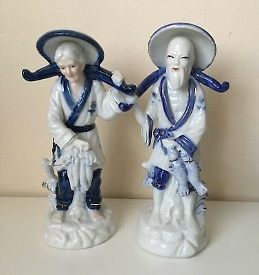 Vintage Chinese Porcelain  Hand Painted Grandmother & Grandfather Figure Ec