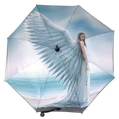 Anne Stokes Spirit Guide Gothic Winged Angel Large Ladies Light Blue Umbrella