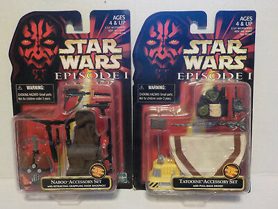 Star Wars Episode I Lot (2) Tatoonie & Naboo Accessory Sets Weapons/capes/droid