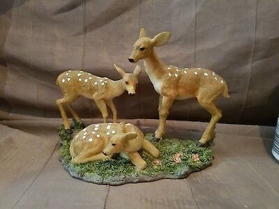 Preowned Deer Figurine, 3 Fawns with Spots, Made of Resin