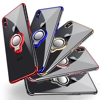For iPhone X 7 8 Plus XR XS Max Magnetic TPU Rubber Case Cover with Ring Holder