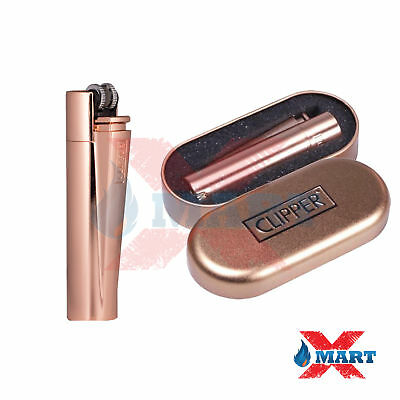 1x Clipper Rose Gold Full Size Refillable Adjustable Flame Metal Lighter