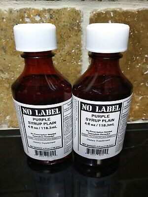 No Label (Two 4Oz Bottles) Purple Relaxation Syrup