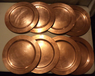 """8 Vintage 1950s Solid Copper Handmade Chargers Service Plates 11-3/4"""" Mexico Set"""