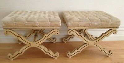 Rare Pair Karges Mid-Century X-Frame Ottomans Benches