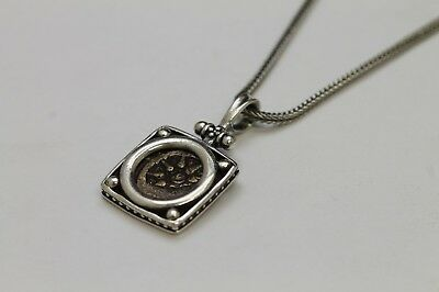 Square Sterling Silver Pendant, Ancient Jewish Coin (Widows Mite). Cert  2131N