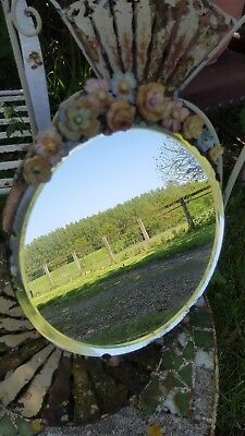Genuine 1930's Vintage Art Deco Barbola Dressing Table Mirror Bevelled Wood Back