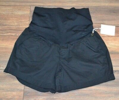 a:glow Maternity Black Khaki Shorts Maternity with Full Coverage Belly Band