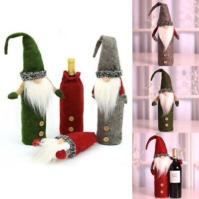 Hot Xmas Dinner Party Table Decor Merry Christmas Santa Wine Bottle Bag Cover