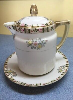NIPPON TEA POT Hand Painted EXCELLENT Marked w/ M+Wreath NORITAKE matched saucer