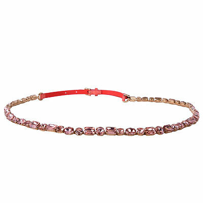 DOLCE & GABBANA RUNWAY Crystal Chain Patent Leather Belt for Dress Pink 07111