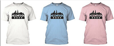 Chicago Custom T-Shirt, Skyline Flag - Best tshirt Design! White Blue or Pink!