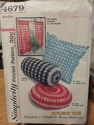 Vintage Simplicity Smocked Gingham Home Fashions Pattern - 4679