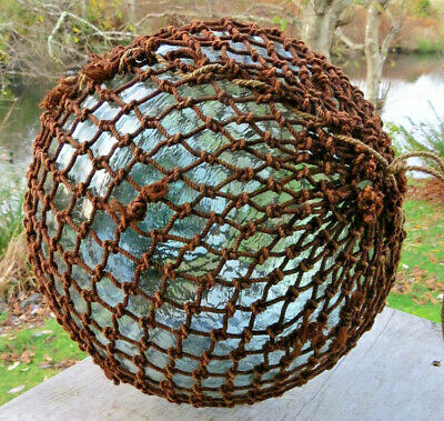 "Large JAPANESE Blown GLASS Fishing Float 10"" Aqua Seal Button Net Antique 18MB"