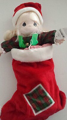 Precious Moments Doll QVC Christmas Stocking Santa Hat Porcelain New Retired