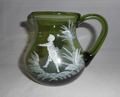 Vintage Mary Gregory Green Glass Creamer/Milk Pitcher 3.5""