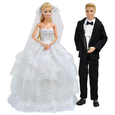 Handmade Doll Clothes Wedding Dresses Gown + Formal Suit For Barbie Ken Dolls