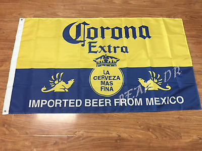 5' X 3' Corona Extra Crown Beer Imported From Mexico Blue on Yellow Banner Gift