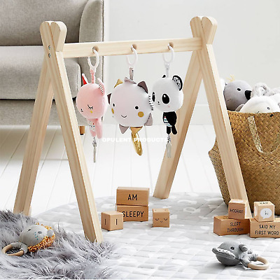 Wooden Activity Play Stand Baby Gym Nursery Decor Learning Mobile Hanging Toys
