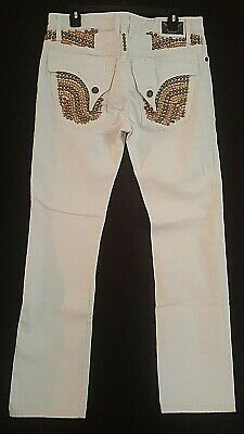 019151889e0 Men White Robin Jeans Size 32 Long Flaps Orange Crystals with Gold Studs