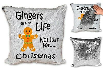 Gingers Are For Life Not Just For Christmas Sequin Reveal Cushion Cover & Insert