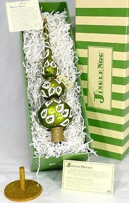 "JingleNog Holly Jolly Tree Topper Green-Gold Glass w/Stand 16""H Poland NIB"