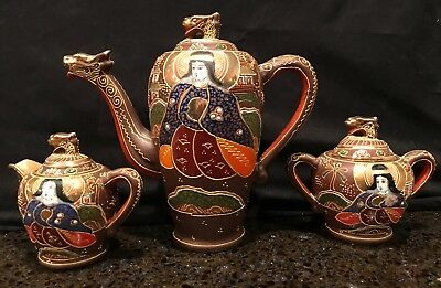 Vintage Signed Japanese Satsuma  W Gold Gilt ~Tea Pot, Creamer, Sugar