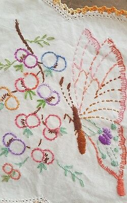 SWEET Vintage LARGE Butterfly Hand Embroidered Doily WITH FLOWERS CROCHET BORDER